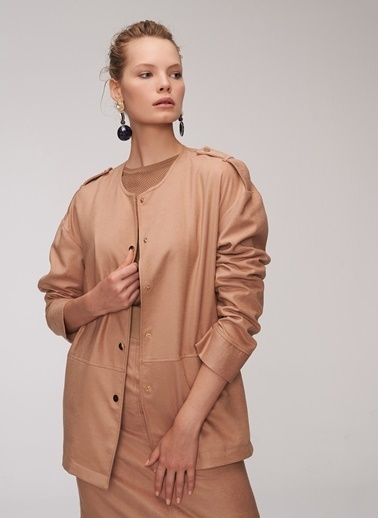 People By Fabrika Suni Süet Ceket Camel